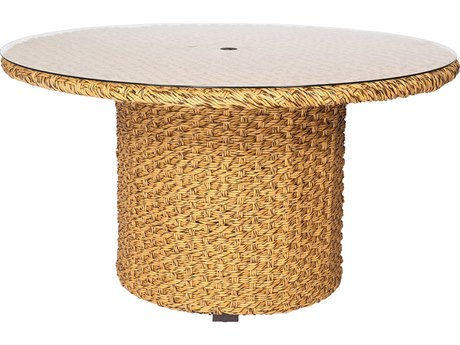 Whitecraft Mona Wicker 54 Round Glass Top Table with Umbrella Hole