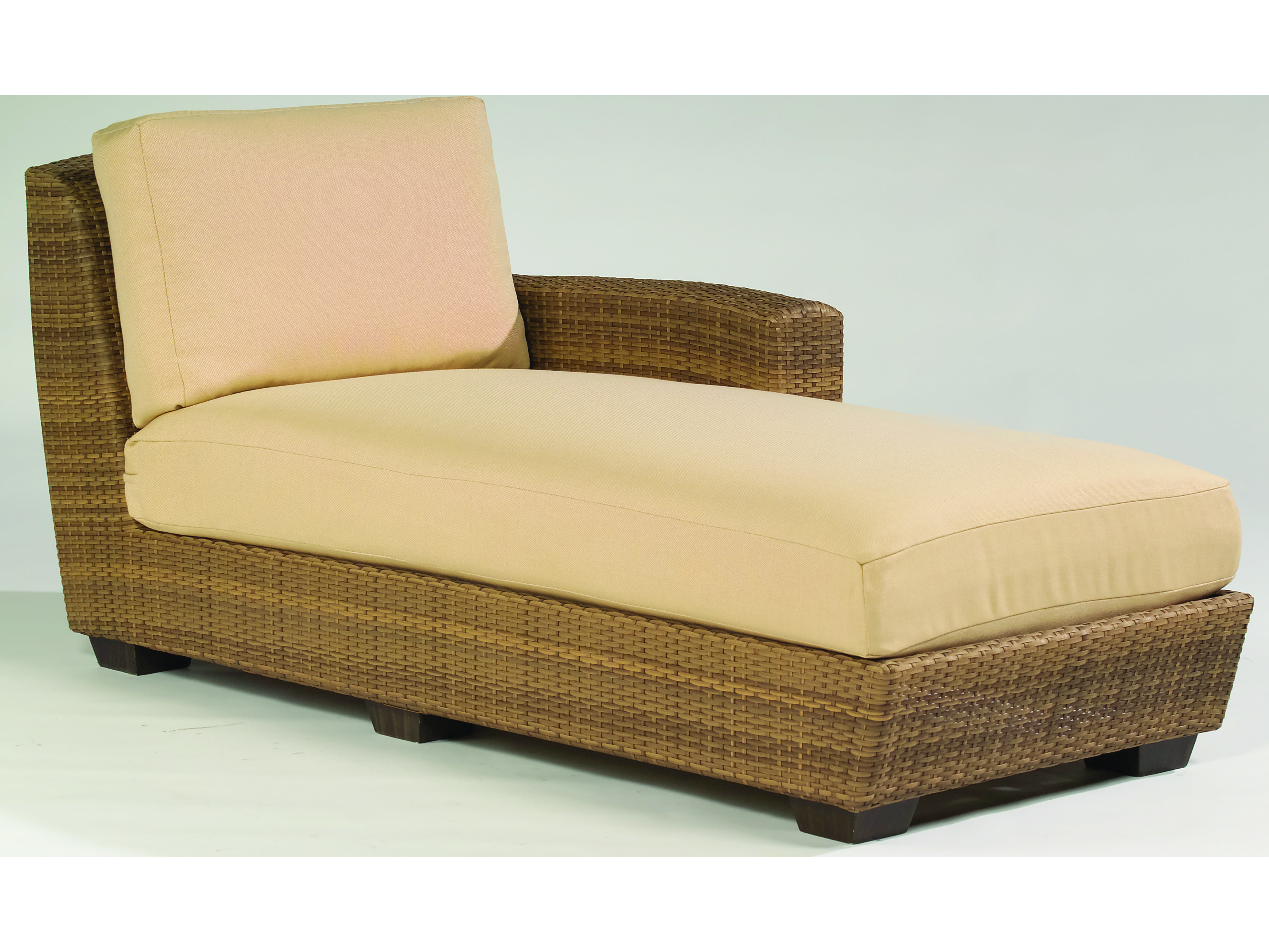 Whitecraft saddleback wicker right arm chaise lounge for Arm chaise lounge
