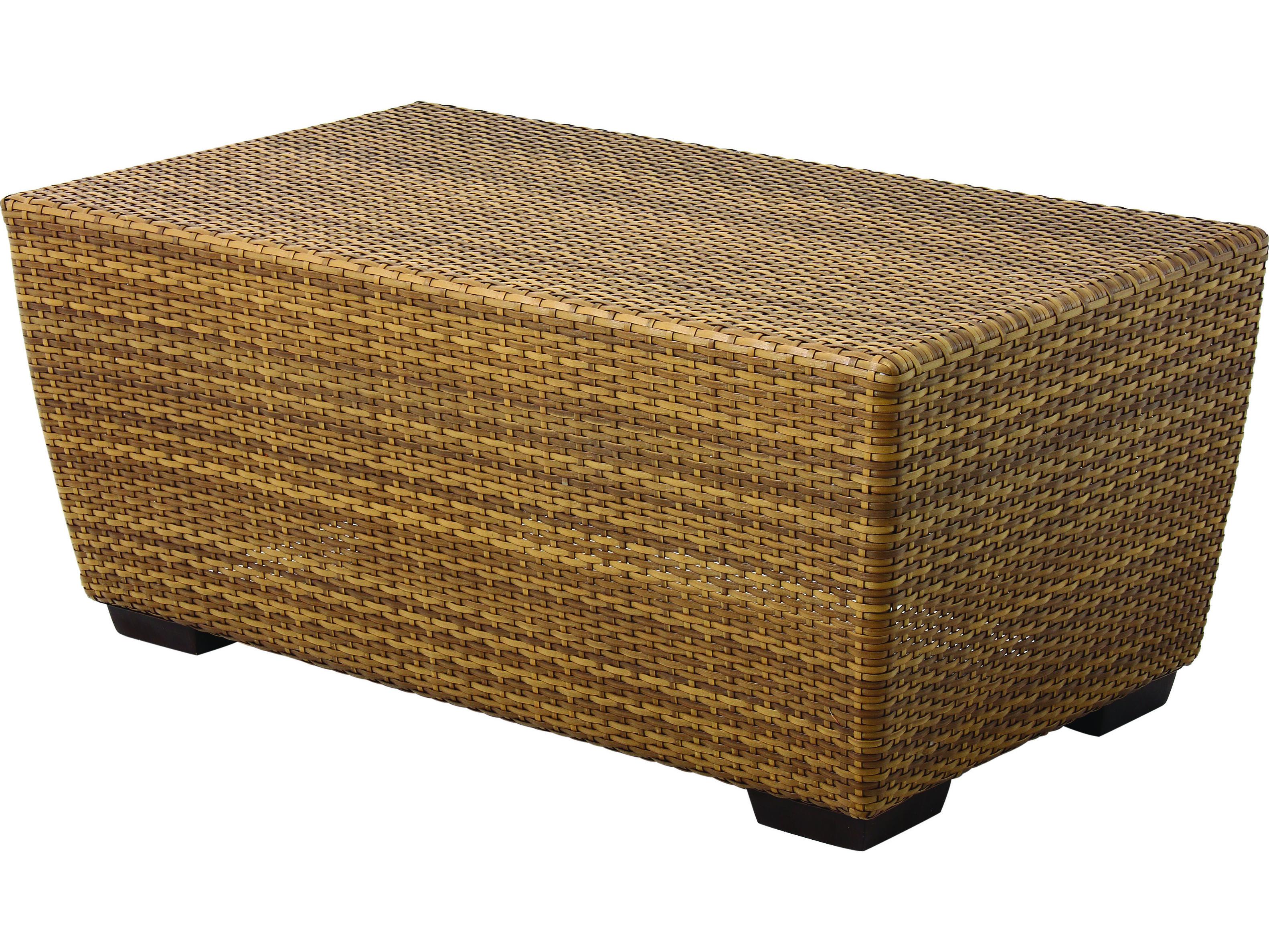 Whitecraft saddleback wicker 42 x 24 rectangular coffee for Wicker coffee table