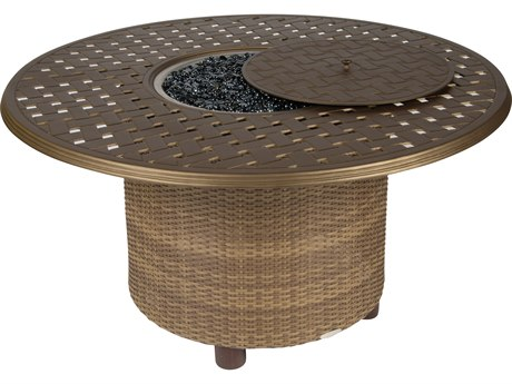 Whitecraft Saddleback Wicker 48 Round Thatch Top Chat Height Fire Table