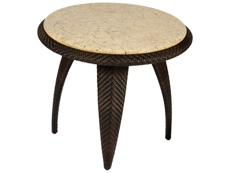 Whitecraft Bali Wicker 27 Round Stone Top End Table