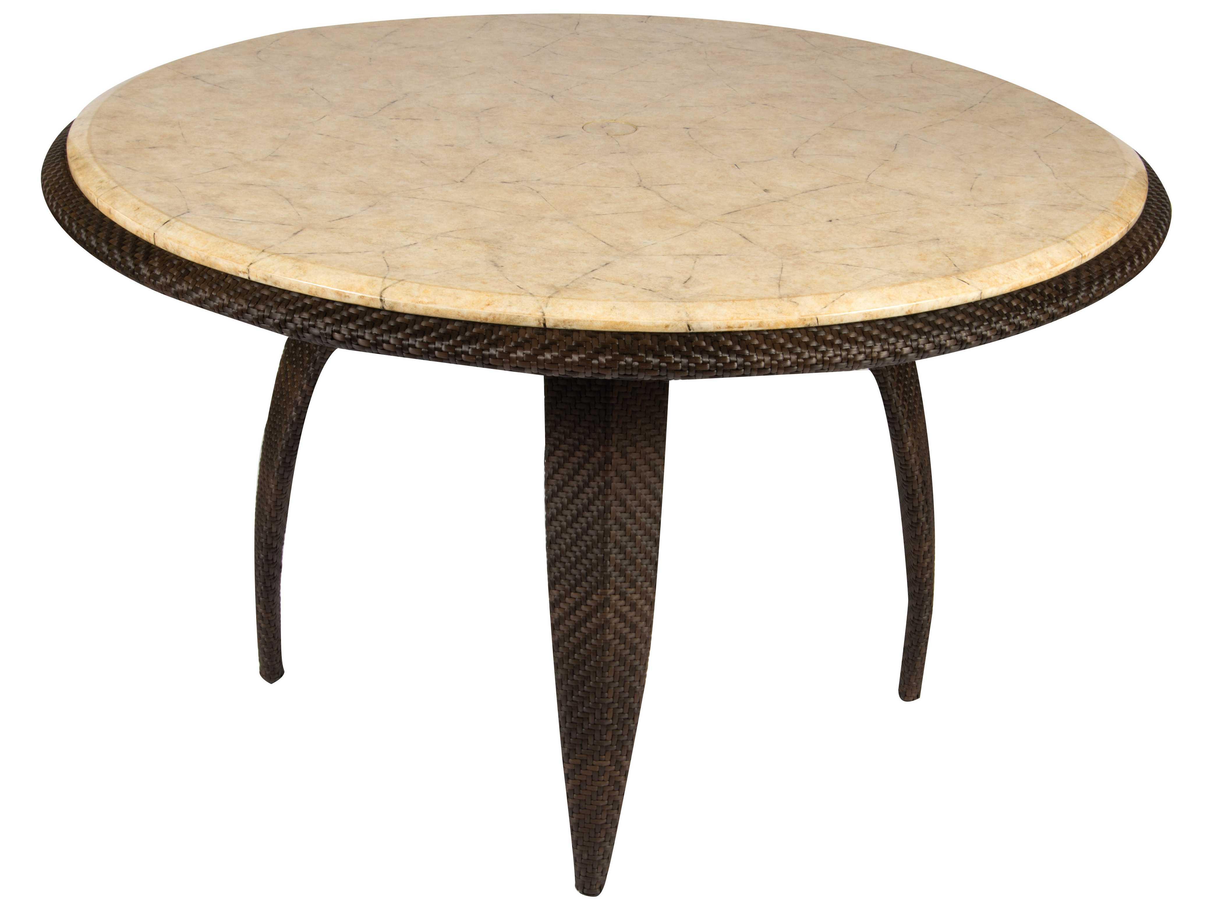 Whitecraft bali wicker 48 round stone top dining table for Round stone top dining table