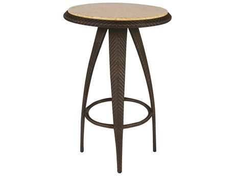 Whitecraft Bali Wicker 27 Round Stone Top Bar Table
