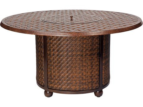 Whitecraft North Shore Wicker Chat Height Fire Table with Woven Base and Round Thatch Top