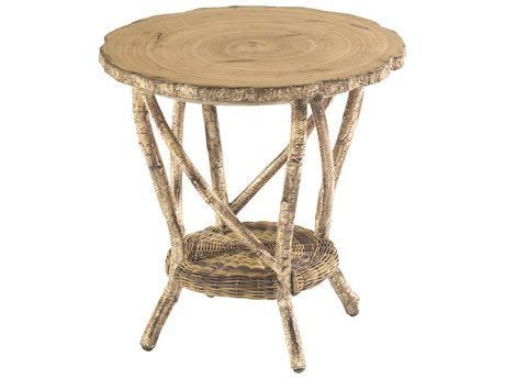 Whitecraft River Run 22 Round Faux Birch Top End Table