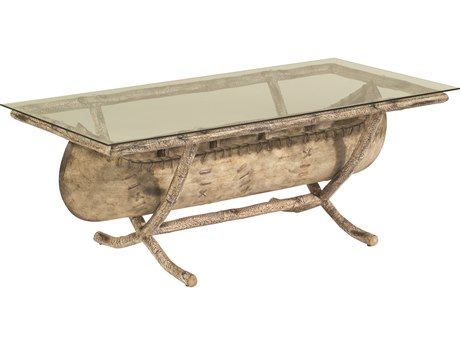 Whitecraft River Run Canoe 54 x 26 Rectangular Glass Top Coffee Table