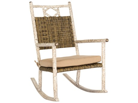 Whitecraft River Run Antique Palm Wicker Rocker Lounge Chair