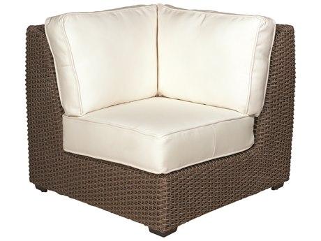 Woodard Whitecraft Augusta Wicker Aged Teak Corner Lounge Chair PatioLiving