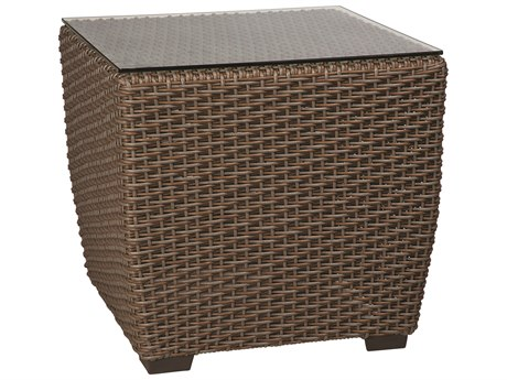 Whitecraft Augusta Wicker 24 Square Glass Top End Table