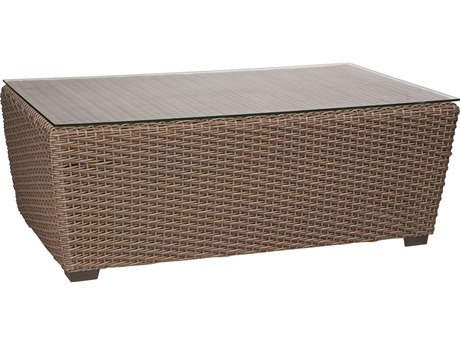 Whitecraft Augusta Wicker 50 x 30 Rectangular Glass Top Coffee Table
