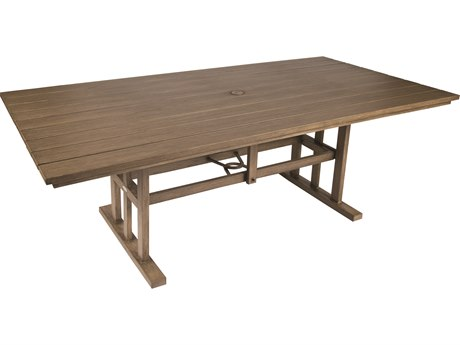Whitecraft Augusta Aluminum Woodlands 84 x 43 Rectangular Table with Umbrella Hole