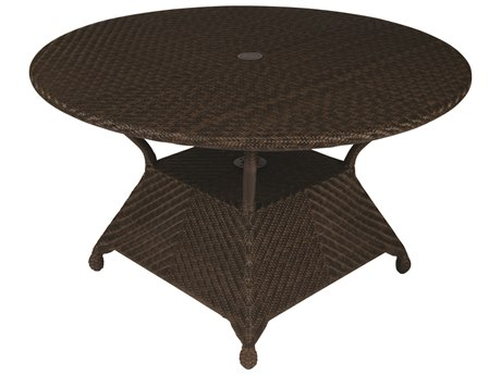 Whitecraft Boca Wicker 48 Round Dining Table with Umbrella Hole