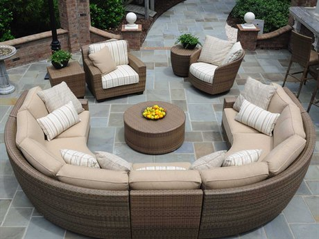 Woodard Whitecraft Saddleback Wicker Sectional Lounge Set