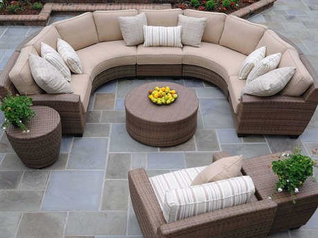 Whitecraft Saddleback Wicker Sectional Lounge Set