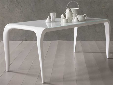 YumanMod Arial White 33.5'' x 72.5 -104.5'' Rectangular Extendable Dining Table