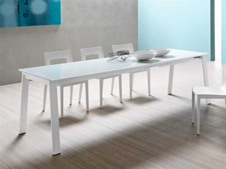 YumanMod Alpha White Rectangular Extendable Dining Table