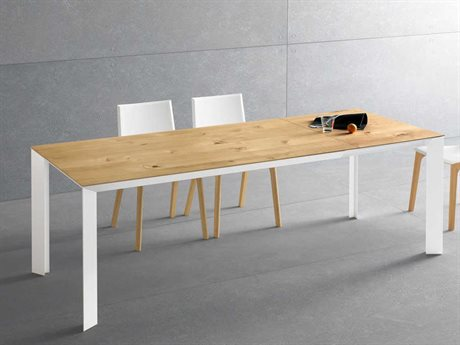 YumanMod Metropolis White & Natural Wood Rectangular Extendable Dining Table