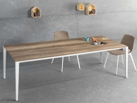 YumanMod Zen White & Brown Rectangular Extendable Dining Table