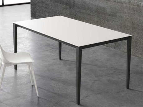 YumanMod Zen Dark Gray & Extra White Rectangular Extendable Dining Table