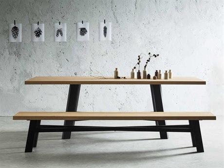 Yumanmod Thunder Painted Steel & Oak Wood 94.5'' x 41.7'' Rectangular Dining Table