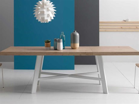 Yumanmod Thunder Painted Steel & Natural Oak 63'' - 94.5'' x 35.4'' Extendable Rectangular Dining Table