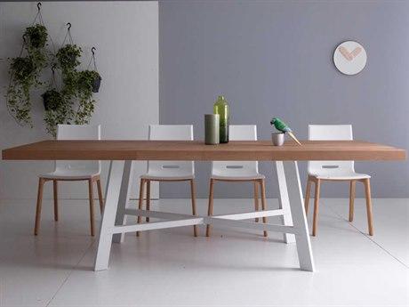 Yumanmod Thunder Painted Steel & Burnished Oak 63'' - 94.5'' x 35.4'' Extendable Rectangular Dining Table