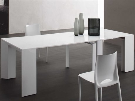 Yumanmod Mindy White Lacquered 19.7'' - 118.1'' x 39.4'' Extendable Rectangular Dining Table