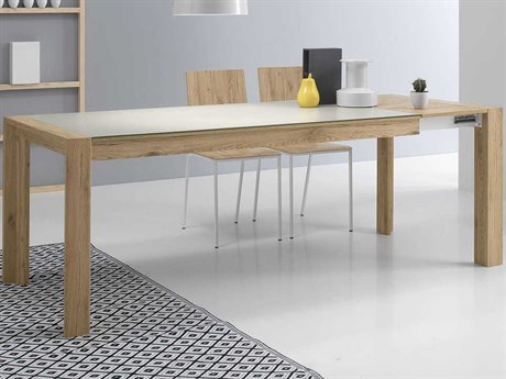 Yumanmod Mole Raw Oak & Granite Extendable Rectangular Dining Table