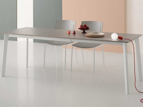 Yumanmod Kent Mat White Epoxy & Dove Grey Extendable Rectangular Dining Table