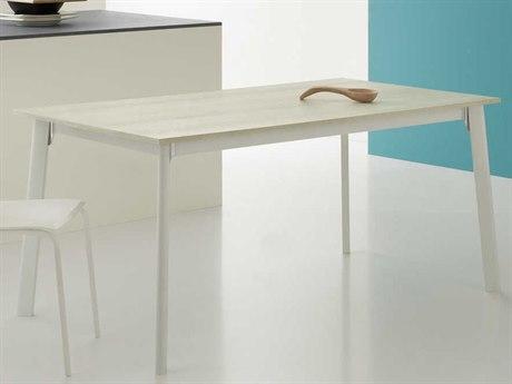 Yumanmod Otis Mat White Powder Coated & White Oak Extendable Rectangular Dining Table
