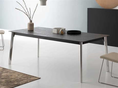 Yumanmod Intent Epoxy Painted Mat Graphite & Dark Grey Extendable Rectangular Dining Table