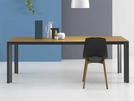 Yumanmod Temper Mat Black Epoxy & Oak Extendable Rectangular Dining Table