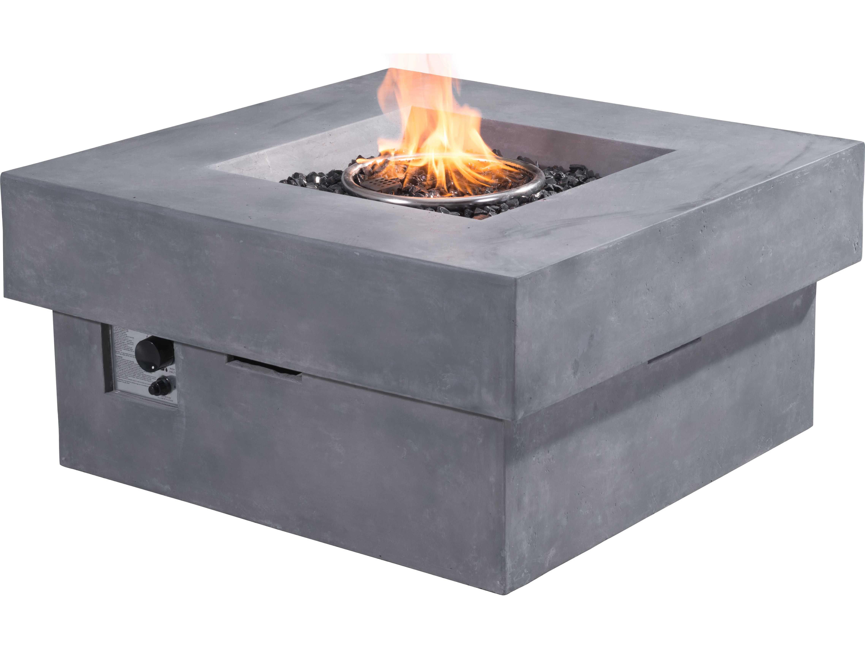 Zuo Outdoor Diablo 36 Square Propane Fire Pit In Gray 100413