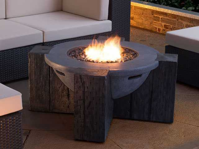Zuo outdoor hades 42 3 round propane fire pit in gray for Hades dining table th8