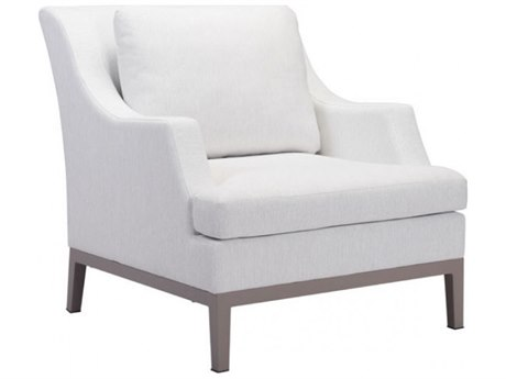 Zuo Outdoor Ojai Aluminum Arm Chair in Champagne White