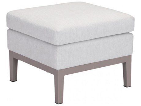 Zuo Outdoor Ojai Aluminum Ottoman in Champagne White PatioLiving