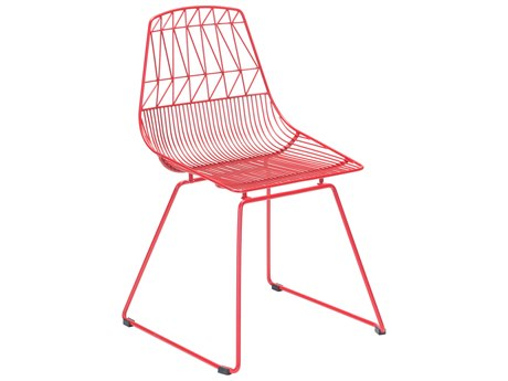 Zuo Outdoor Brody Red Steel Dining Side Chair Set of Two