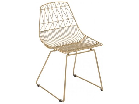 Zuo Outdoor Brody Gold Steel Dining Side Chair Set of Two
