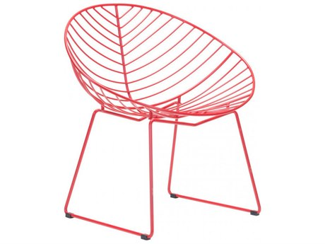 Zuo Outdoor Hyde Red Steel Lounge Chair - Sold in Multiples of 2 Only