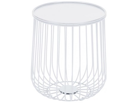 Zuo Outdoor Gilbert White Steel 14.4''Wide Round Side Table
