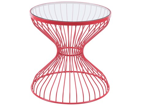 Zuo Outdoor Rose Red Steel 19.7''Wide Round Glass Top Side Table