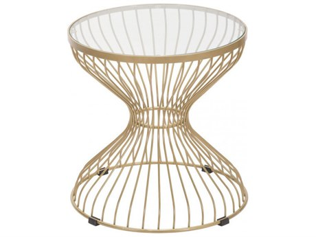 Zuo Outdoor Rose Gold Steel 19.7''Wide Round Glass Top Side Table