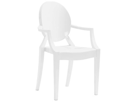 Zuo Outdoor Anime Polycarbonate Dining Chair in White Set of Four PatioLiving