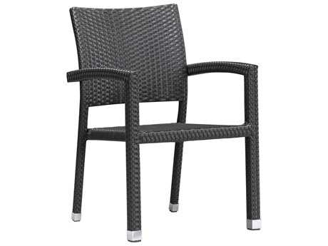 Zuo Outdoor Boracay Aluminum Wicker Dining Chair Espresso (Sold in 2)