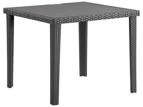Zuo Outdoor Cavendish Aluminum Wicker 35.50 Square Glass Top Dining Table in Espresso ZD701356