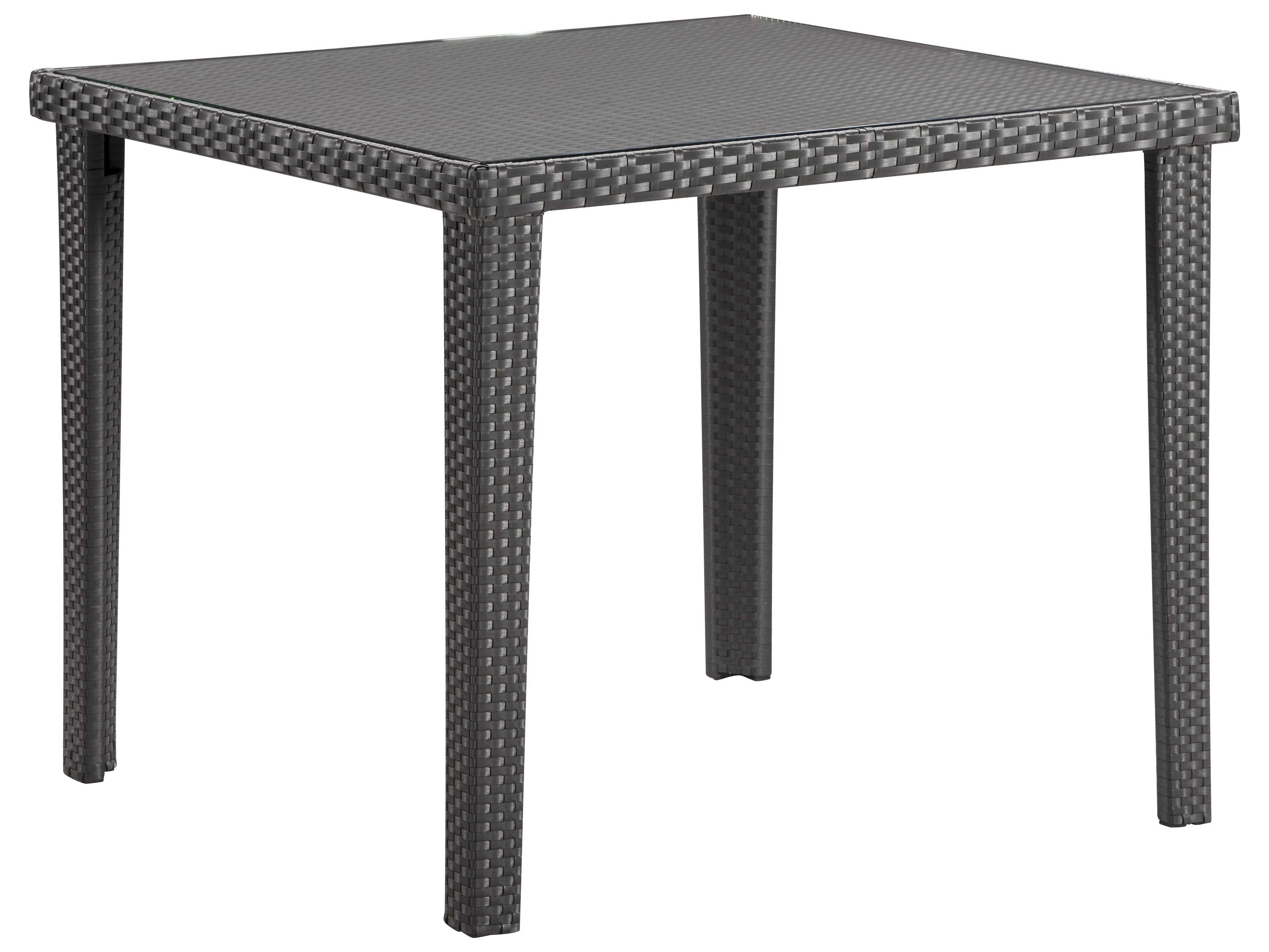 zuo outdoor cavendish aluminum wicker square glass top dining table in espresso 701356. Black Bedroom Furniture Sets. Home Design Ideas
