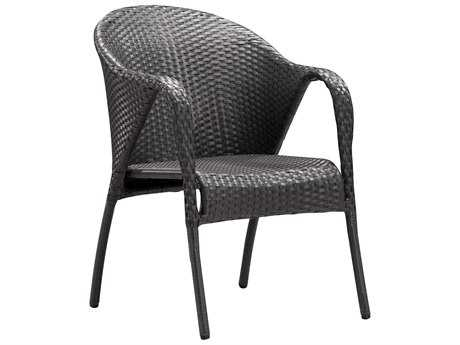 Zuo Outdoor Montezuma Aluminum Wicker Chair in Espresso (Sold in 2)