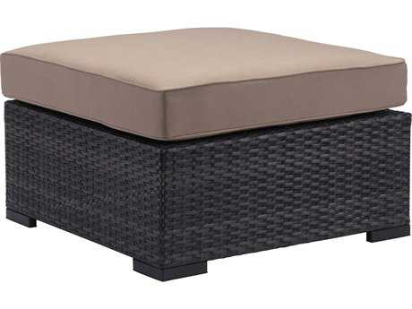 Zuo Outdoor Bocagrande Aluminum Wicker Ottoman in Brown
