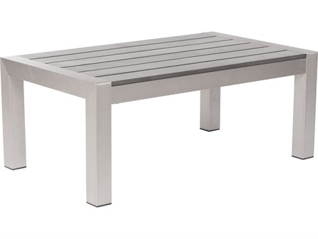 Zuo Outdoor Cosmopolitan Aluminum 39.4 x 23.6 Rectangular Polywood Slated Top Coffee Table PatioLiving