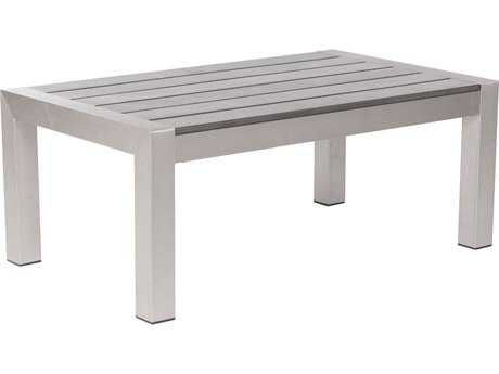 Zuo Outdoor Cosmopolitan Aluminum 39.4 x 23.6 Rectangular Polywood Slated Top Coffee Table